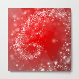 Elegant red white abstract Christmas pattern Metal Print
