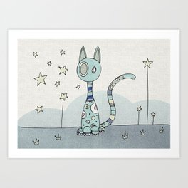 Blue Night-Cat Art Print