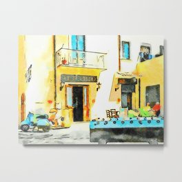 Foosball and scooter in front of the bar Metal Print