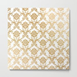 Gold swirls damask #4 Metal Print