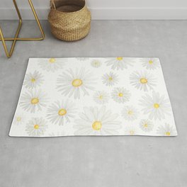 white daisy pattern watercolor Rug