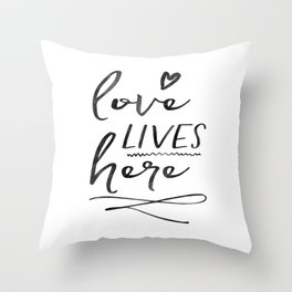 Love Lives Here | Framed Wooden Sign | Farmhouse Style | Rustic Decor | Fixer Upper | Welcome Home Throw Pillow