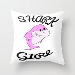 Baby shark birthday. Sister shark. Baby shark party. Pink shark. Shark girl Throw Pillow