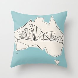 Australia Abstract Sketch Throw Pillow