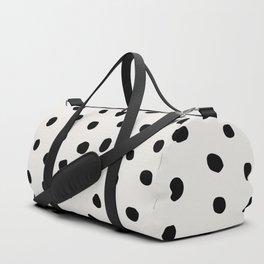 Modern Polka Dots Black on Light Gray Duffle Bag
