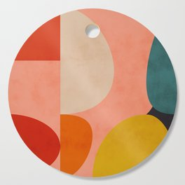 geometry shape mid century organic blush curry teal Cutting Board