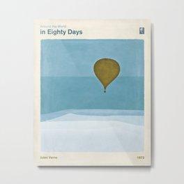 Jules Verne's Around the World in Eighty Days - Minimalist literary design, literary gift Metal Print