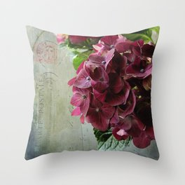 carte hydrangea Throw Pillow
