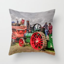 Steam Threshing Throw Pillow