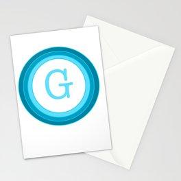 Blue letter G Stationery Cards