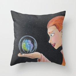 Galaxy in a crystal ball Throw Pillow