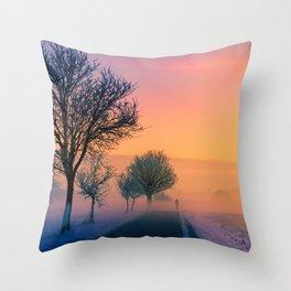 Winter Road Trip Sunset Landscape Throw Pillow