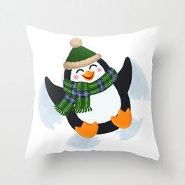 Penguin Snow Angel Throw Pillow