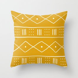 Yellow Ethnic Pattern  Throw Pillow