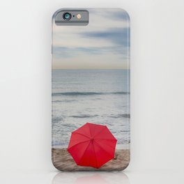 Red Umbrella lying at the beach III iPhone Case