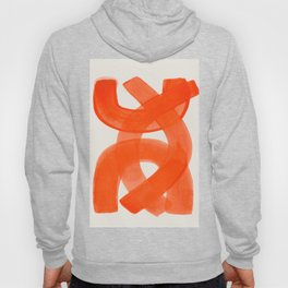 Mid Century Modern Abstract Painting Orange Watercolor Brush Strokes Hoodie