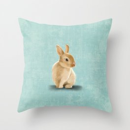 Portrait of a little bunny Throw Pillow