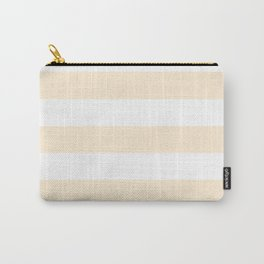 Papaya whip - solid color - white stripes pattern Carry-All Pouch