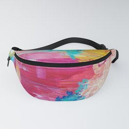 ELATED - Beautiful Bright Colorful Modern Abstract Painting Wild Rainbow Pastel Pink Color Fanny Pack