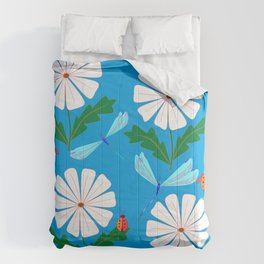 White Spring Daisies, Dragonflies, Lady Bugs and the Sun Comforters