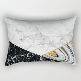 Geometric White Marble - Black Granite & Blue Marble #325 Rectangular Pillow