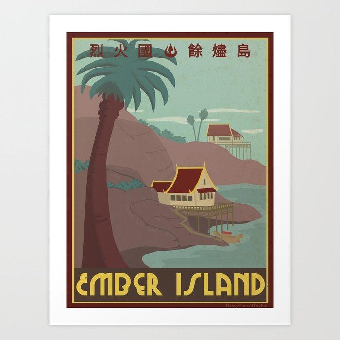Ember Island Travel Poster Kunstdrucke