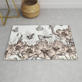 Butterfly Flowers And Butterflies Stencil Rug