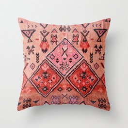 N52 - Pink & Orange Antique Oriental Traditional Moroccan Style Artwork Throw Pillow