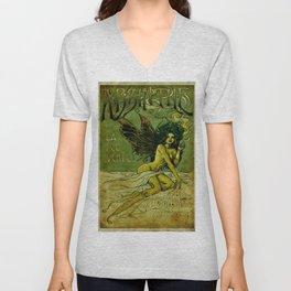 Vintage Parisian Green Fairy Absinthe Alcoholic Aperitif Advertisement Poster Unisex V-Neck