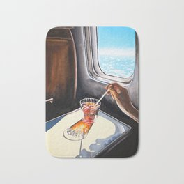 Glass in Airplane | Retro Mid Century | Mad Men Painting Bath Mat