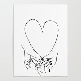 Parent Pinky Promise Family Line Art Mother Father Baby Poster