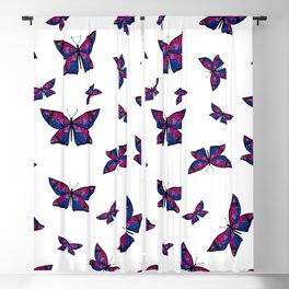 Fly With Pride: Bisexual Flag Butterfly Blackout Curtain
