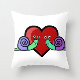 Snail Couple Throw Pillow