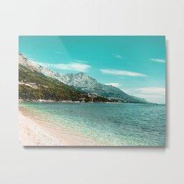 Teal Ocean Beach | Caribbean Clear Beaches Water Waves in Europe Mountain Landscape Beautiful Sky Metal Print