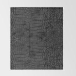 Black Crocodile Leather Print Decke