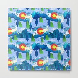 Watercolor Colorado mountains, trees and flag Light Blue Metal Print