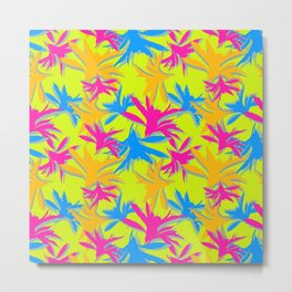 Modern boho flourescent vibrant bright colorful pattern design Metal Print