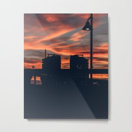Sunset Over the City Street Photography Metal Print