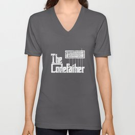 Funny programmer design The Codefather graphic vintage Unisex V-Neck