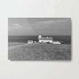 beach front lighthouse medulin croatia istria europe black white Metal Print