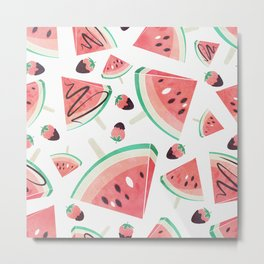 Watermelon popsicles, strawberries and chocolate Metal Print