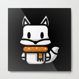 Fox Silhouette Kids Gift Lover Design Metal Print