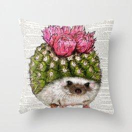 Hedgehog Print, Cactus Hedgehog wall art, Funny wall art,  Wall Art Decor, Throw Pillow