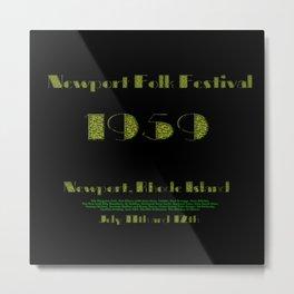 1959 Newport Folk Festival Advertisement Poster, Newport, Rhode Island Metal Print