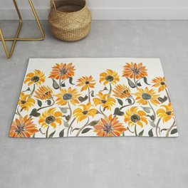 Sunflower Watercolor – Yellow & Black Palette Rug