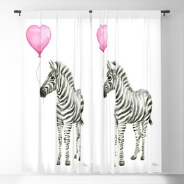 Zebra with Pink Balloon Blackout Curtain