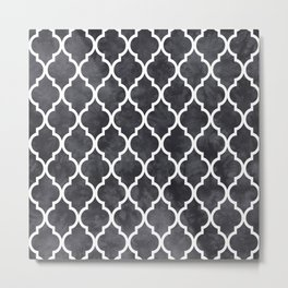 Classic Quatrefoil Lattice Pattern 421 Black and White Metal Print