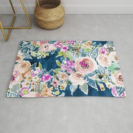 NAVY SO LUSCIOUS Colorful Watercolor Floral Rug