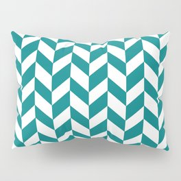 Herringbone Texture (Teal & White) Pillow Sham