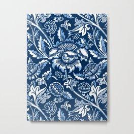 William Morris Sunflowers, Dark Blue and White Metal Print